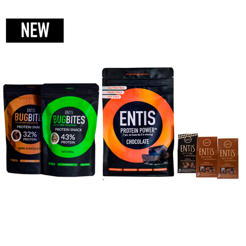 megapack of cricket protein products made of edible insects. cricket protein flour, cricket chocolate and cricket protein cereal