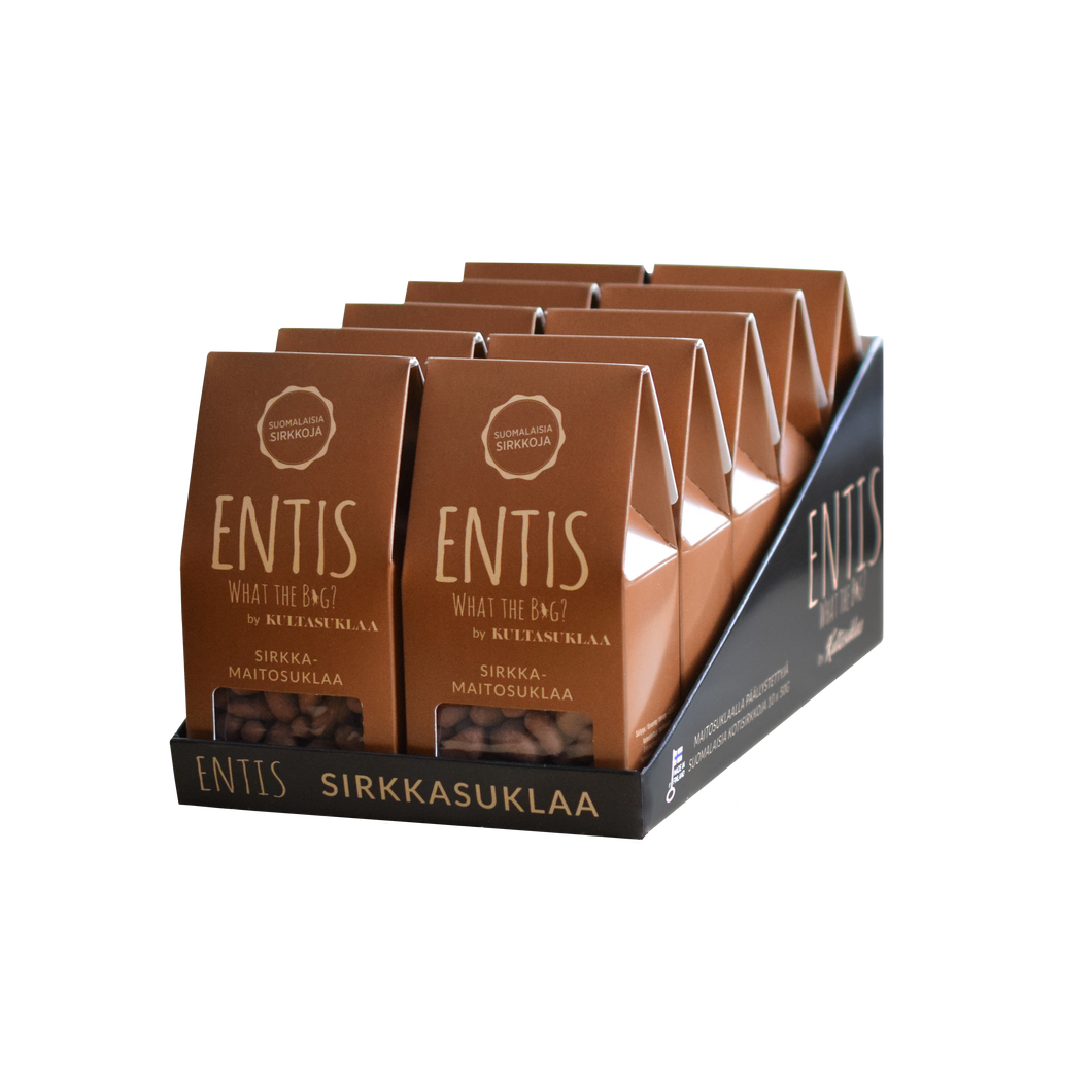 Entis milk chocolate with crickets 10 pack. Edible insects are here tastier than ever!