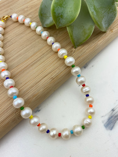 Colorful Pearls Choker