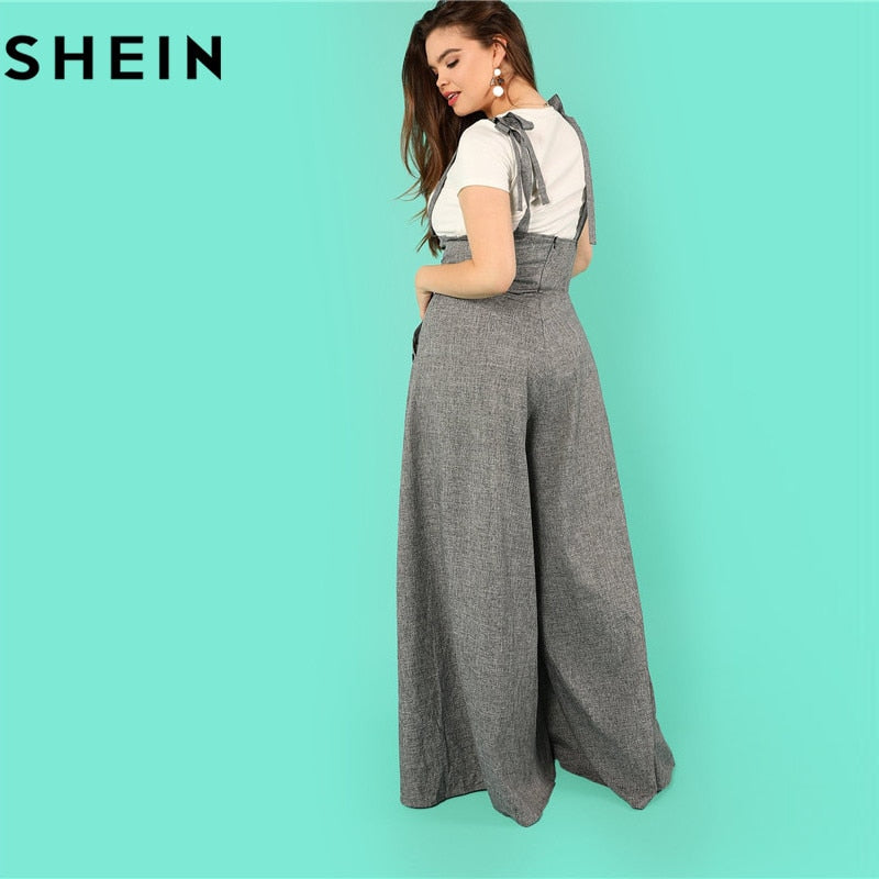 32d8fbe97a Grey High Waist Wide Leg Straps Long Jumpsuits New Flare Hem Loose Full Length  Jumpsuit