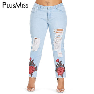 eeb424636de Sexy Skinny Floral Embroidered Ripped Distressed Denim Jeans – Pink ...