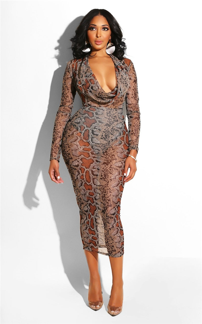 2e29065ee4ab Snake Skin Print Midi Sexy Mesh Long Sleeve Bodycon Dress – Pink ...
