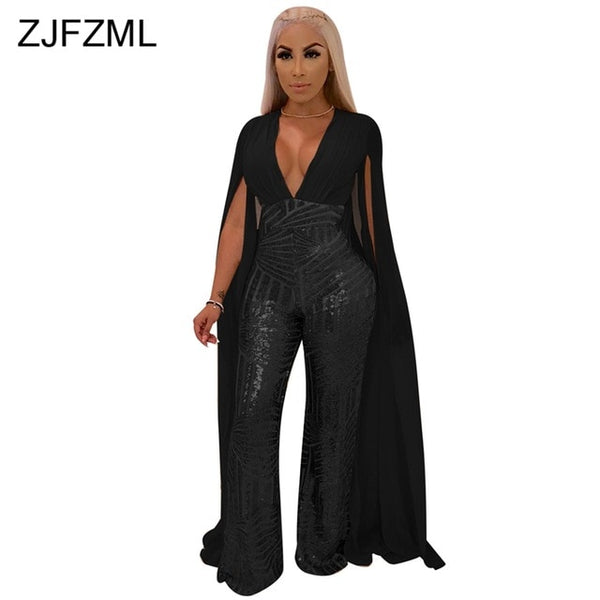 021ddd2a3795 ... Sequins Sexy X-Long Cloak Sleeve V Neck Wide Leg See Through Jumpsuit  ...