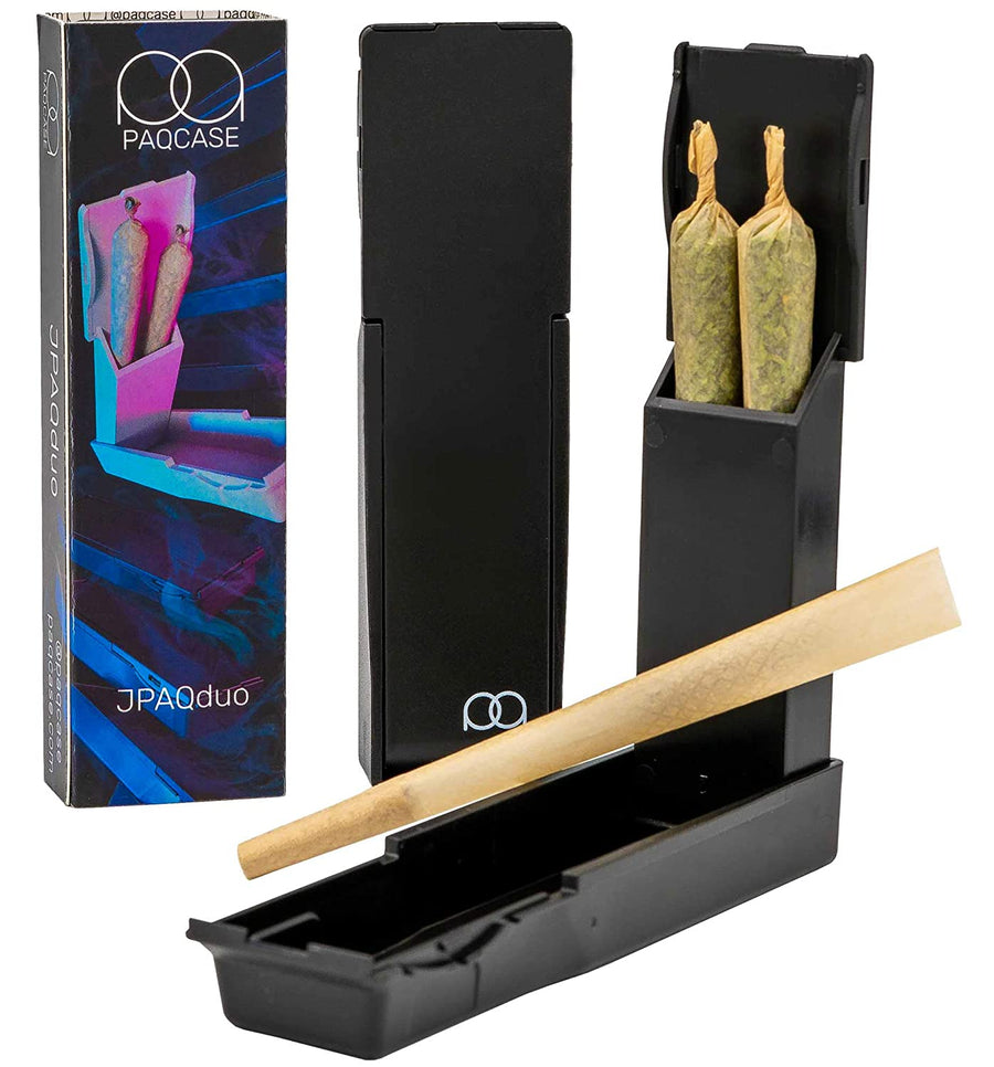 JPAQ Duo - The #1 Ultra-Sleek Joint Holder, Crush-Proof Blunt Holder, Doob Tube, and Cigarette Case, Holds 2 King Size Prerolls, Portable, Compact, Convenient Weed Accessories - Black