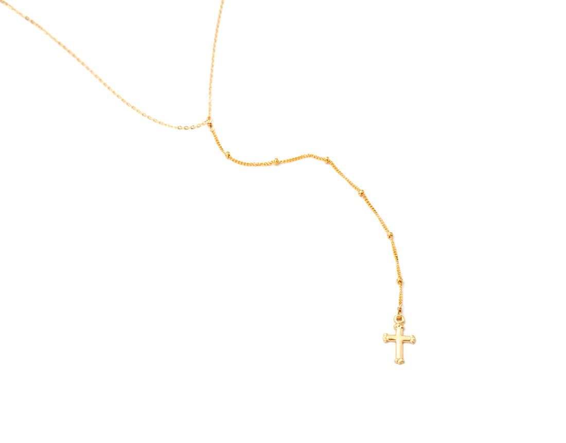 Dotted Lariat Cross Necklace