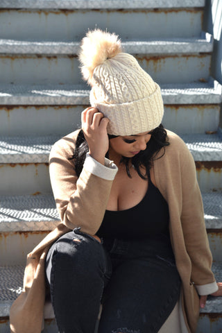 Rose Lake Co. | Versatile Pom Beanie & Scarf - Beige