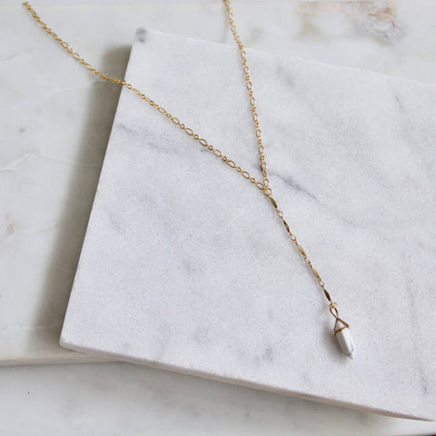 White Turquoise Lariat Necklace