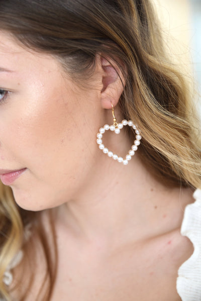 Lovely Pearl Heart earrings