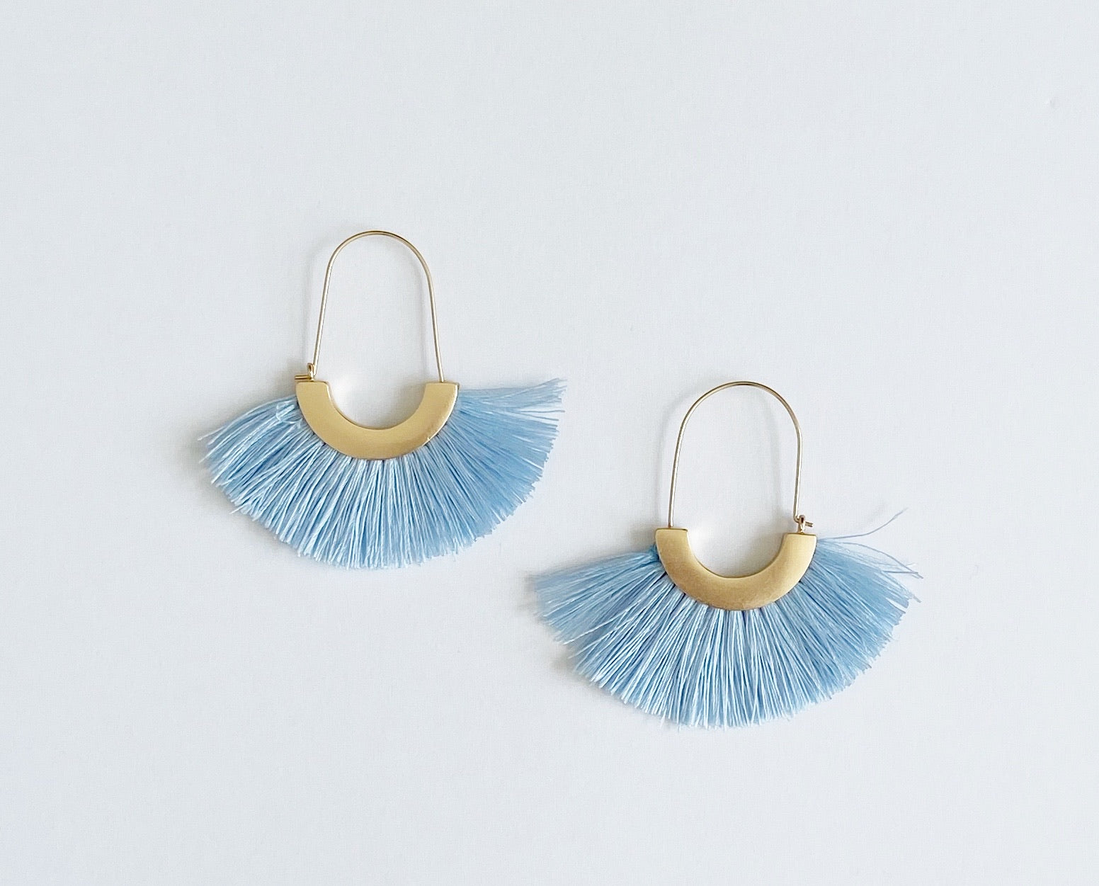 Ava Tassel Hoop Earrings - Baby Blue