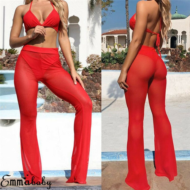 Pirouzi Official Flared Mesh Trousers