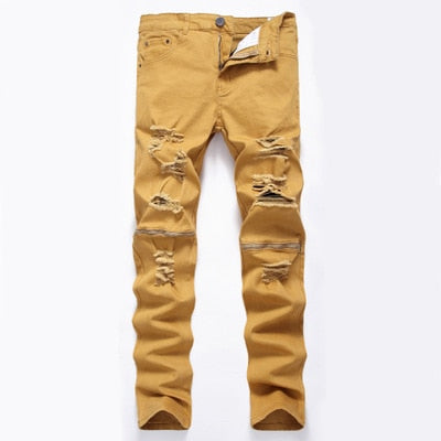 Pirouzi Official Slim Fit Destroyed Zipper Jeans