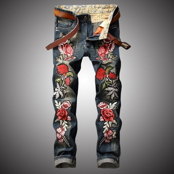 Pirouzi Official Rose Embroidered Denim Jeans