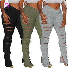 Pirouzi Official Tore Up Flare Pants
