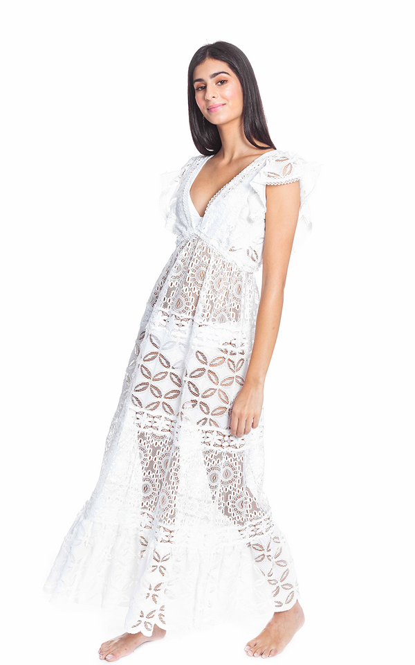 Nicole V Neck Lace Dress