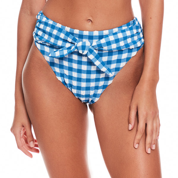 Blue Gingham Paula Tie-up Bikini Bottom