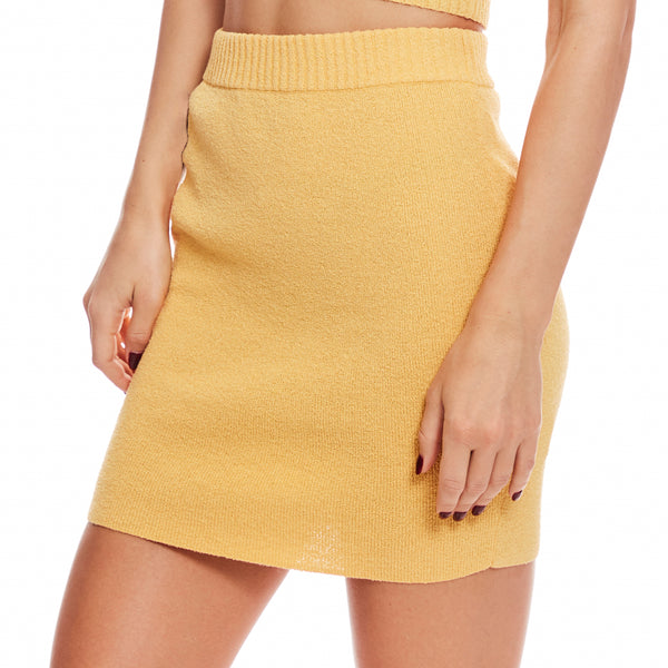 Lemon Squeezy Knit Mini Skirt