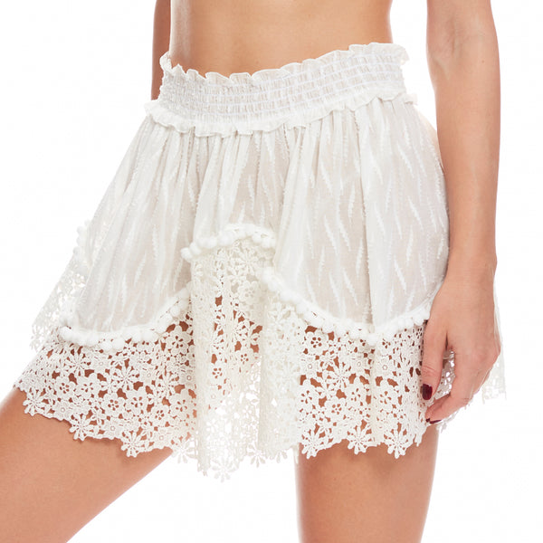 Short Skirt With Embroidered Lace