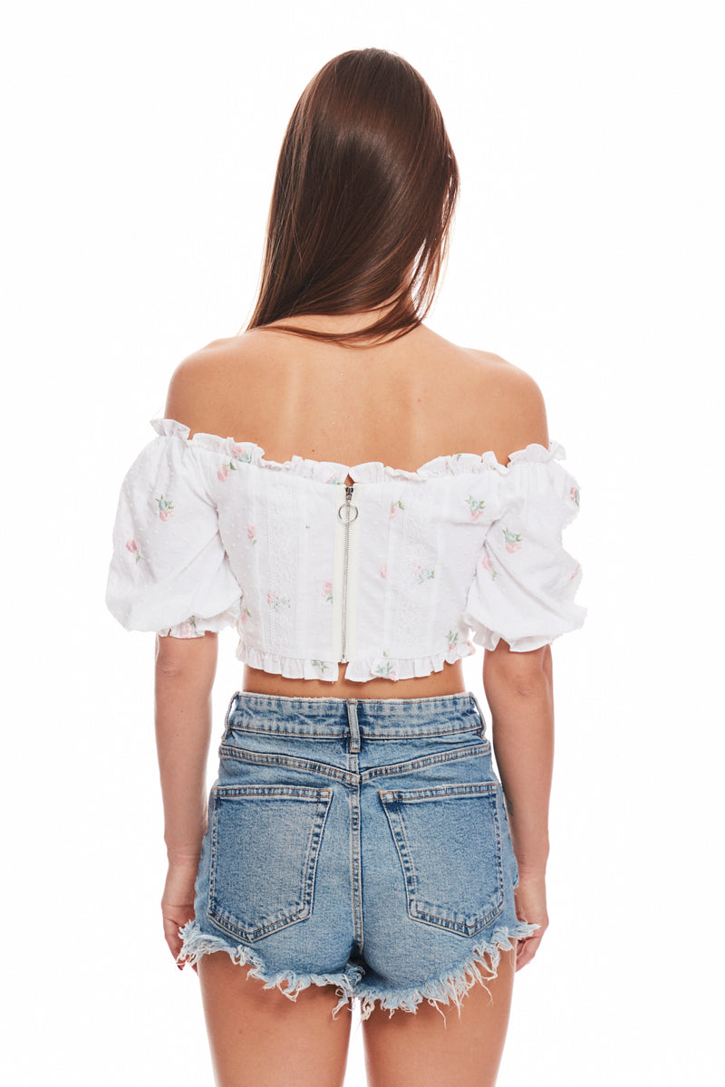 Rainey Embroidered Crop Top