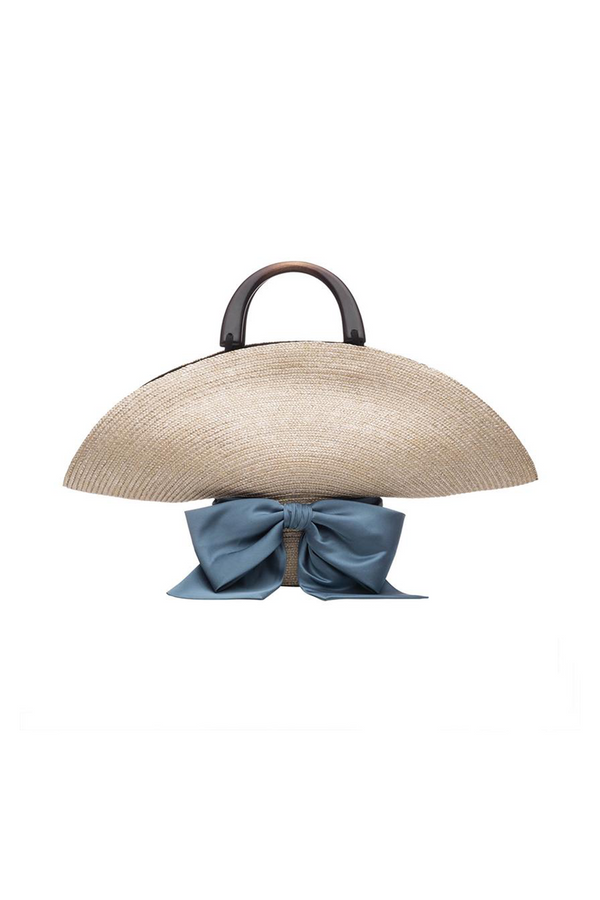 Flavia Bag in Stone Straw with Prussian Blue Bow