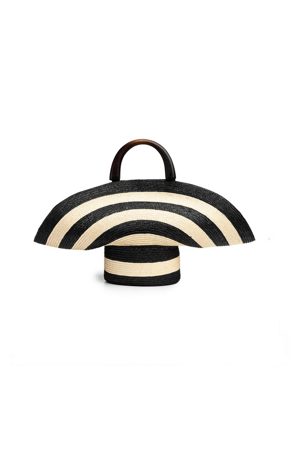 Flavia Ivory/Black Striped Straw