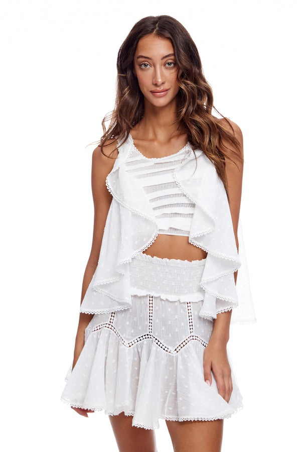 Ruffle Knit Top With Cotton Voile Drop Down Sleaves