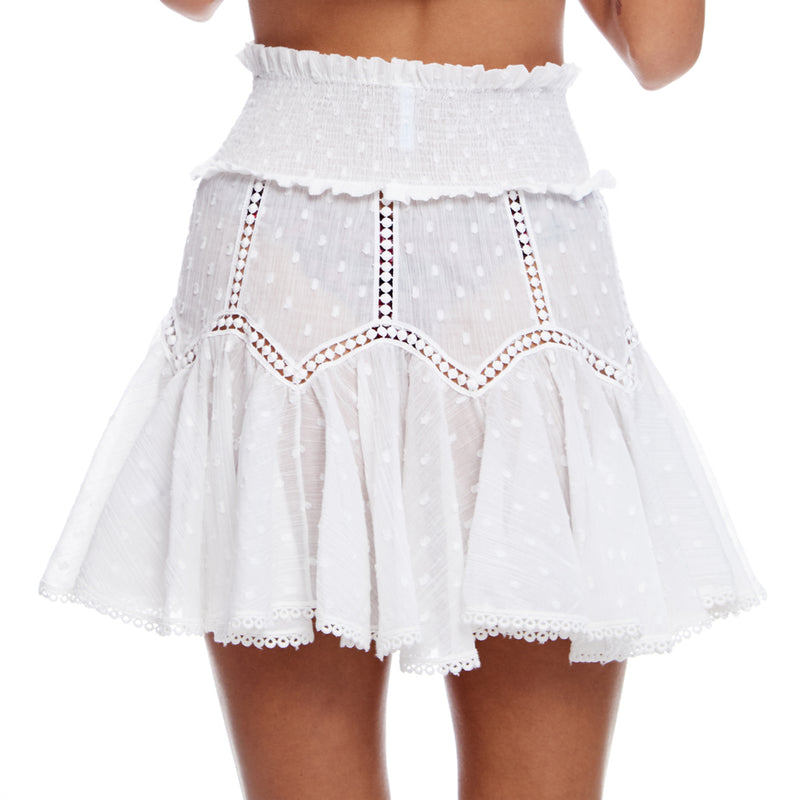 Mini Skirt With Smocked Waist and Lace