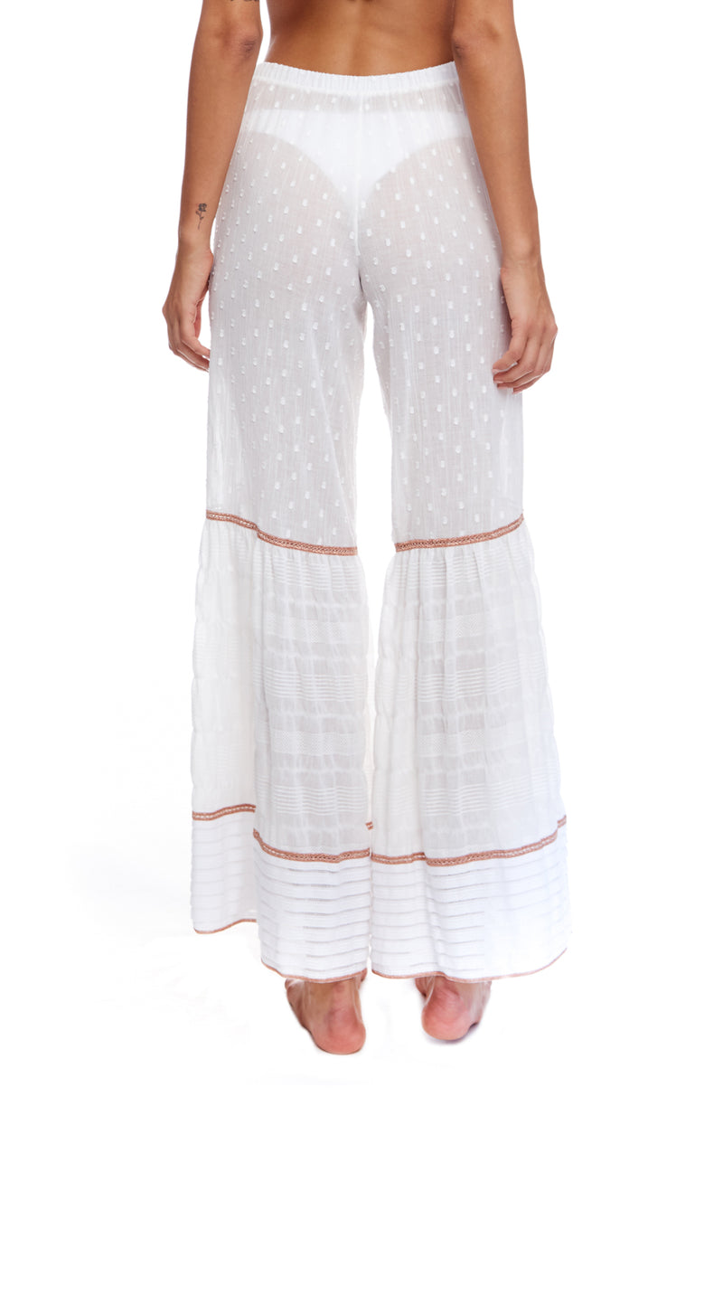 Wide Leg Pants In Cotton Voile, Knit Ruffle And Lurex Rose Gold Embroidery