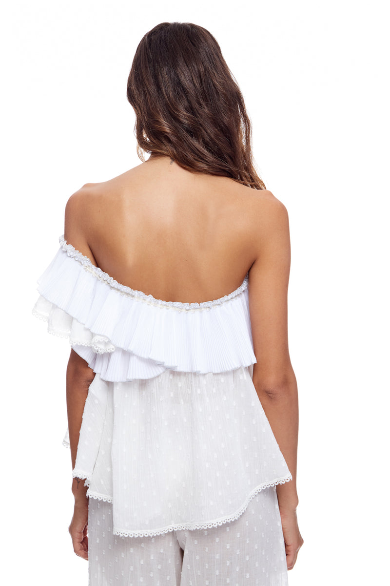 One Shoulder Plisee' Ruffle Top