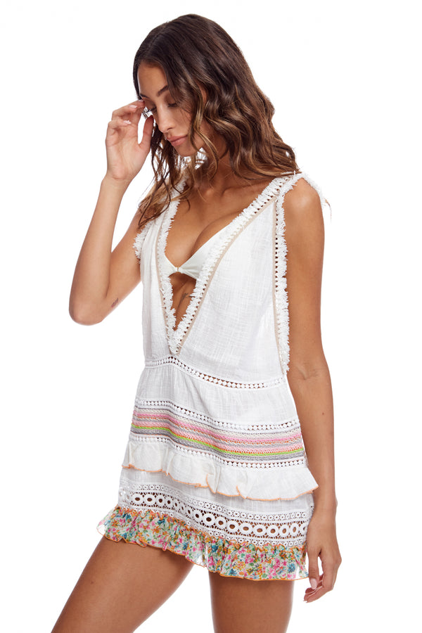 Mini Multi Dress With Macrame And Fringe