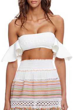 Bandeau Off The Shoulder Top in Neoprene and Embroidery