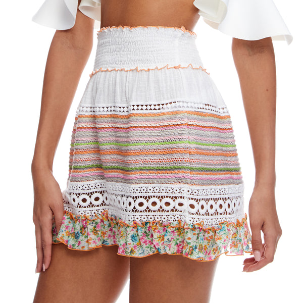 Smocked High Waist Mini Skirt With Multi Knit In Ruffle
