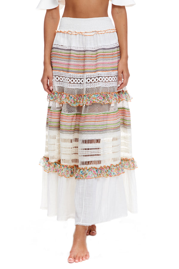 Maxi Multi Skirt With Macrame And Ruffle