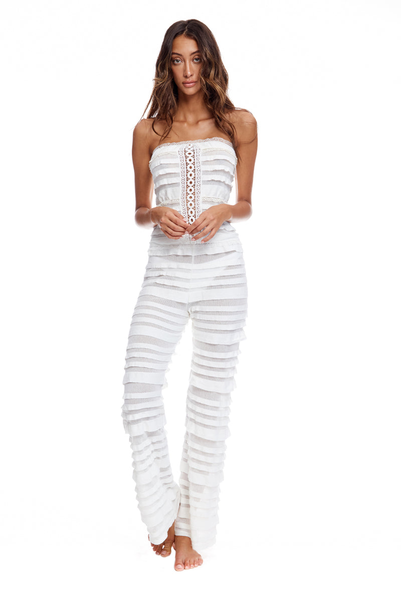 Romper With Knit Rouche And Lace Detailing