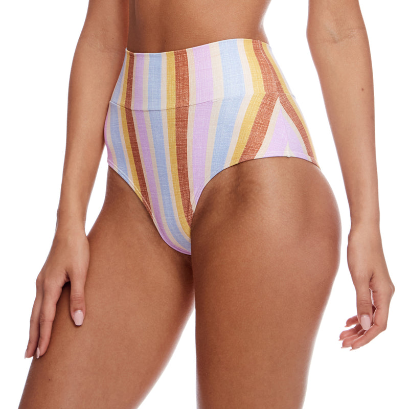 Mallorca Stripe High Rise Bikini Bottom