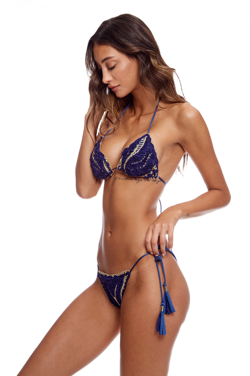 Embroidered Blue And Gold Bikini