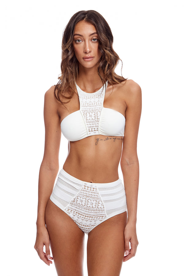 High Cut Brief Knit And Embroidery Two Piece