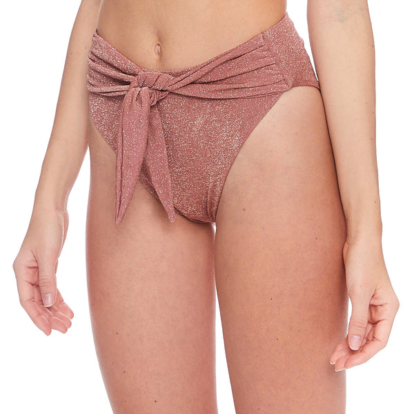 Mauve Sparkle Paula Tie-Up Bikini Bottom