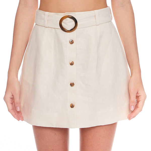 Belted Sand Linen Mini Skirt
