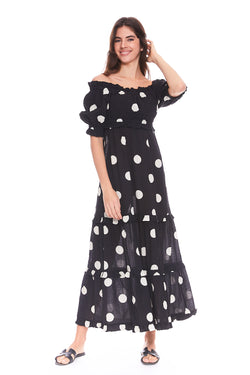 Macaroon Off Shoulder Maxi Dress