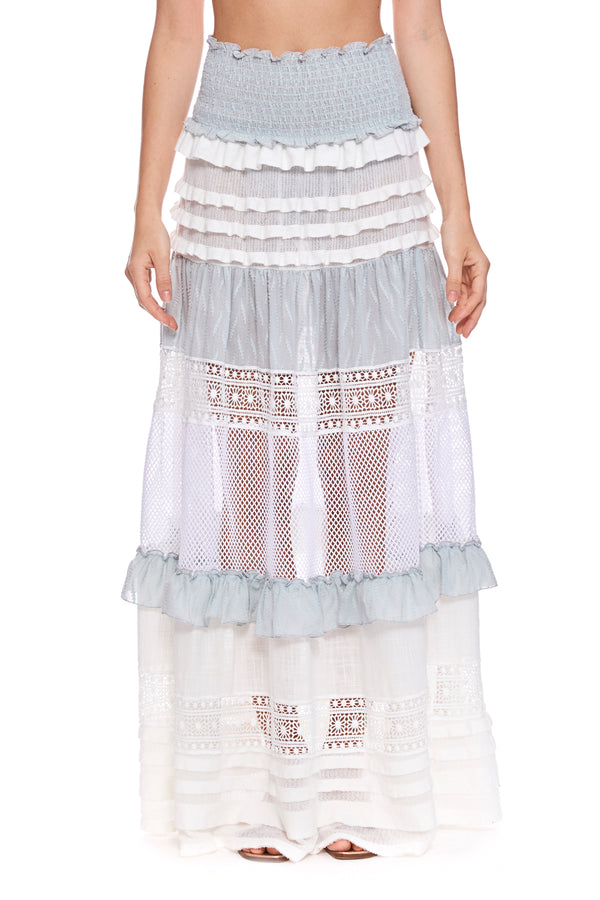 Maxi Skirt With Knit Ruffle & Macrame