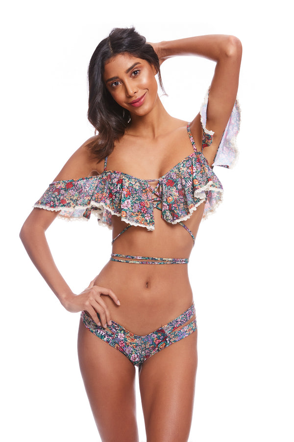 Mara Floral Caletta Bikini Top with Trim