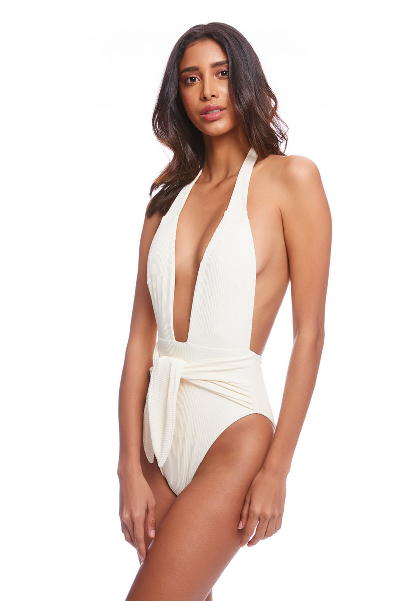 Cream Rib Tropez Tie-Up One Piece