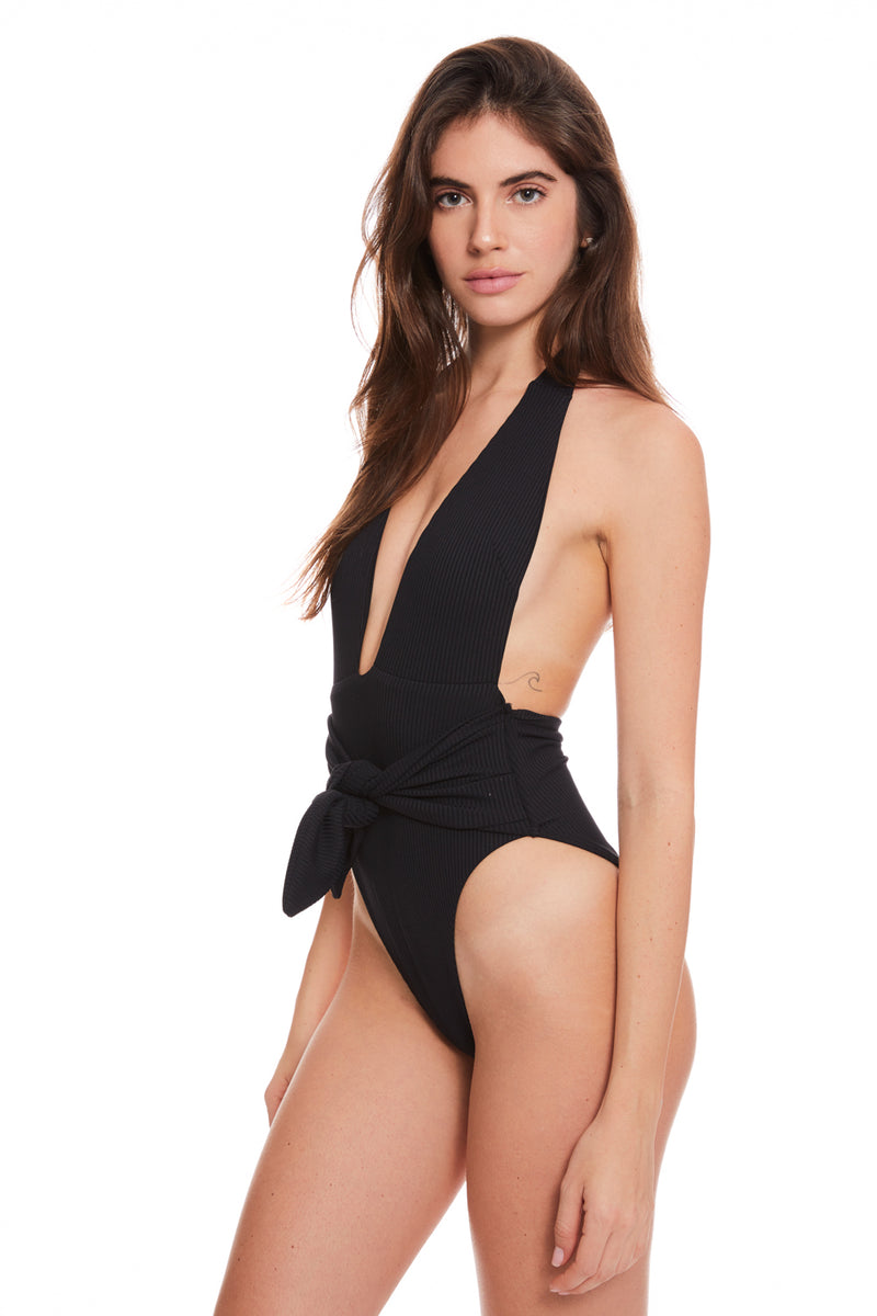 Black Rib Tropez Tie-Up One Piece