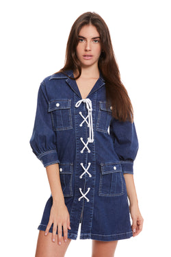 Denim Lace-Up Safari Dress