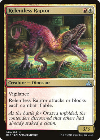 Relentless Raptor [Rivals of Ixalan] | Gaming Kingdom ON
