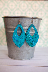 Teal Metallic Fringe Earrings | Genuine Leather