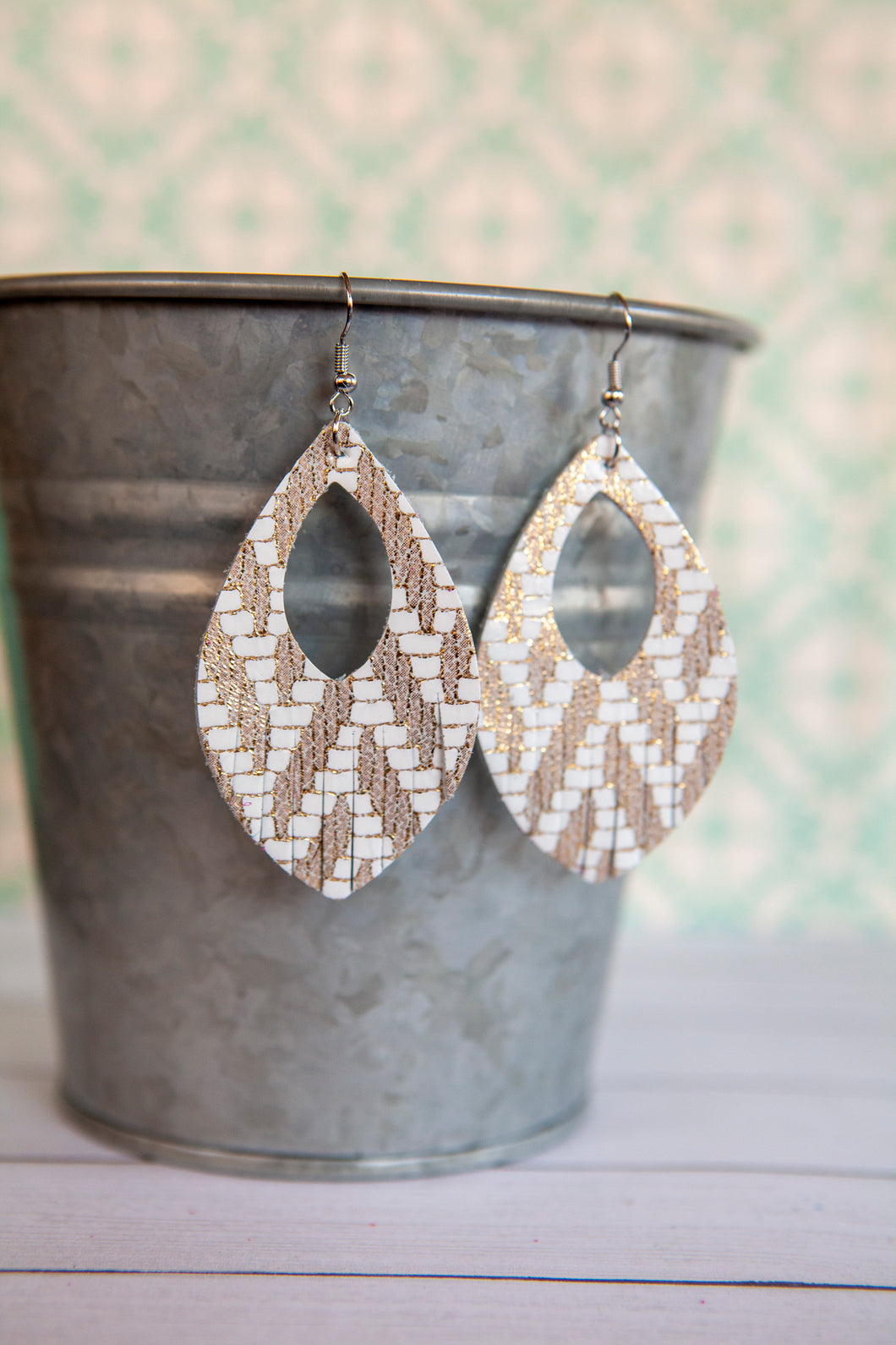 White and Gold Chevron Metallic Fringe Earrings | Genuine Leather