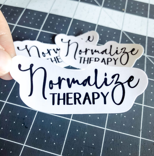 Black and White Normalize Therapy Sticker | Water Resistant Sticker