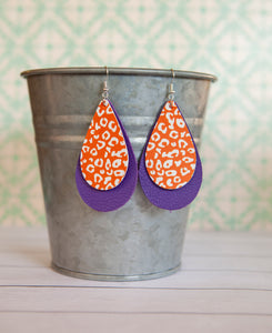 Clemson Stacked Teardrop Earrings | Genuine and Faux Leather