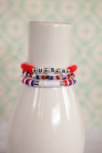 Red White and Blue Bracelet | Polymer Clay Discs